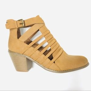 Guess Cut Out Cognac Ankle Booties Block Heel